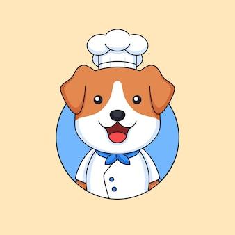Gelukkig knap puppyhoofd die kokende kleren en hoed dragen voor de bezettingsillustratie van de restaurantchef-kok