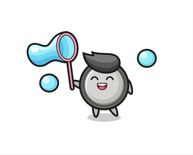 Gelukkig knoopcel cartoon spelen zeepbel, schattig stijl ontwerp voor t-shirt, sticker, logo-element