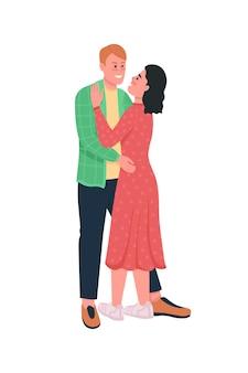 Gelukkig knuffelen man en vrouw plat