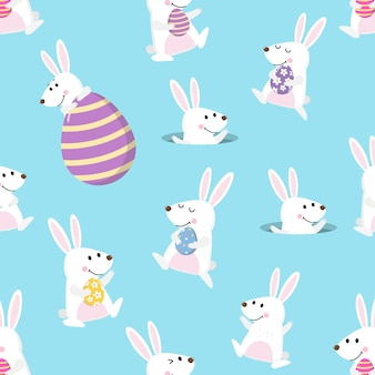 Gelukkig konijntje en paaseieren naadloos patroon
