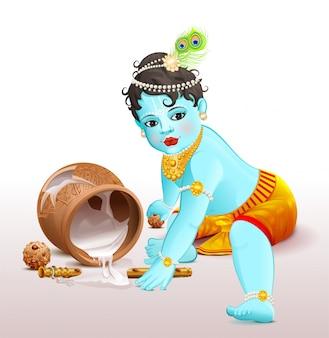Gelukkig krishna janmashtami. blauwe jongensgod brak pot met yoghurt