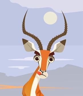 Gelukkig lachend antilope karakter mascotte kauwen en kijken.