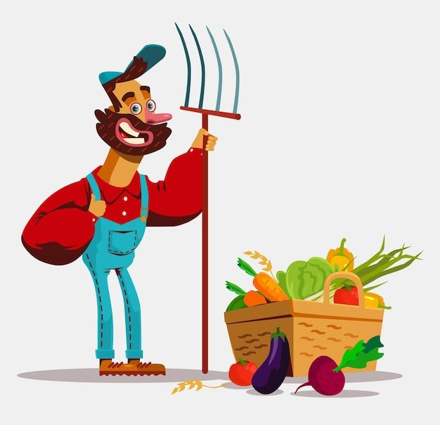 Gelukkig lachend boer bestuurder rijden tractor auto en oogst groenten fruit veld.