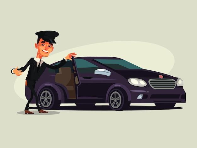 Gelukkig lachend chauffeur man karakter uit te nodigen in taxi auto premium luxeklasse.