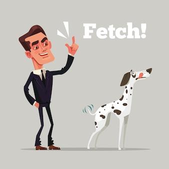 Gelukkig lachend eigenaar man karakter trainen zijn hond. platte cartoon afbeelding