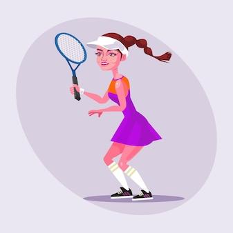 Gelukkig lachend geïsoleerde vrouw meisje karakter tennissen. tekenfilm