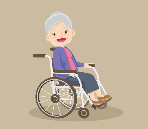 Gelukkig lachend grootmoeder zittend op rolstoel