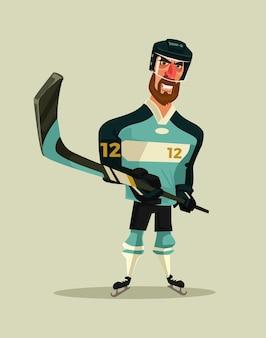 Gelukkig lachend hockeyspeler karakter mascotte cartoon afbeelding