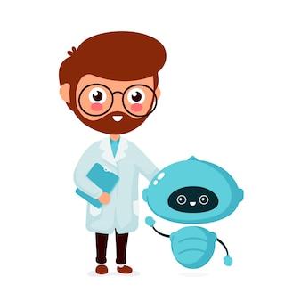 Gelukkig lachend ingenieur, wetenschapper met schattige kleine robot. platte stripfiguur. geïsoleerd op een witte achtergrond