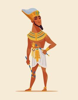 Gelukkig lachend jong egyptisch faraokarakter