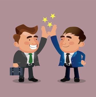 Gelukkig lachend kantoorpersoneel tekens high five.