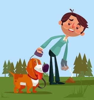 Gelukkig lachend man eigenaar karakter opruimen na zijn hond