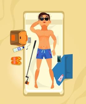 Gelukkig lachend man karakter zonnen en ontspannen. zomertijd vakantie vakantie strand lijn resort platte cartoon concept illustratie