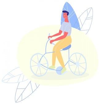 Gelukkig lachend man rijden op fiets knipsel cartoon