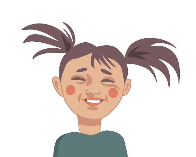 Gelukkig lachend meisje close-up portret in cartoon stijl vectorillustratie