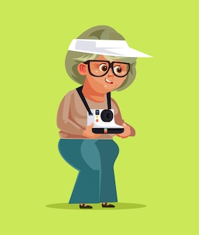 Gelukkig lachend oude vrouw oma grootmoeder toeristische illustratie