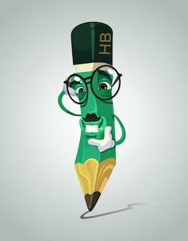 Gelukkig lachend potlood mascotte karakter