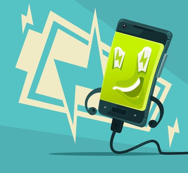 Gelukkig lachend smartphone vol energie en kracht illustratie