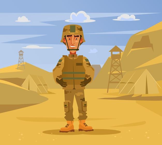 Gelukkig lachend soldaat man teken staande op kamp achtergrond