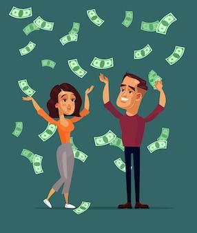 Gelukkig lachend succesvolle man man en vrouw vrouw tekens familie staande onder geld regen. loterij winnaar contant geld besparingen bankwezen concept. platte cartoon geïsoleerde illustratie