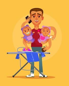 Gelukkig lachend superheld multitasking huisvrouw man karakter doet al het huiswerk en zorgt voor twee kinderen.