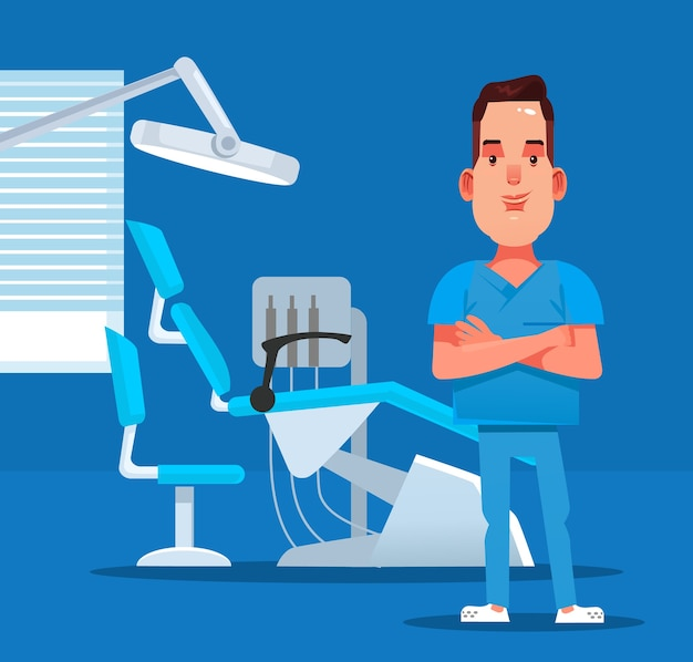 Gelukkig lachend tandarts arts karakter staande binnen geneeskunde kantoor