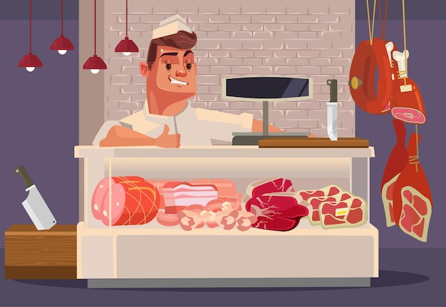 Gelukkig lachend verkoop man slager aanbieden van vers vlees. platte cartoon afbeelding