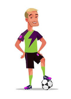 Gelukkig lachend voetbal speler karakter mascotte staande met bal.