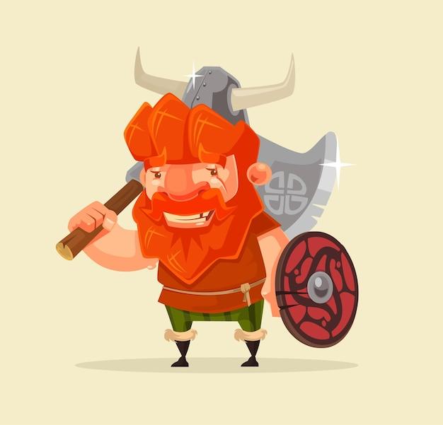 Gelukkig lachend vriendelijke viking man karakter mascotte platte cartoon afbeelding