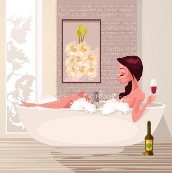 Gelukkig lachend vrouwenkarakter dat een bad neemt, ontspannend en wijn drinkt