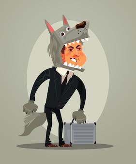 Gelukkig lachend wolf hond zakenman kantoor werknemer manager karakter illustratie