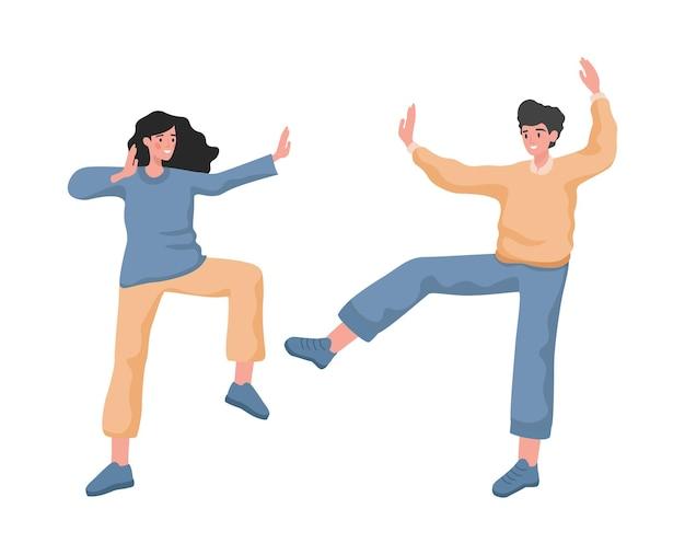 Gelukkig lachende man en vrouw dansen met positieve emoties vector