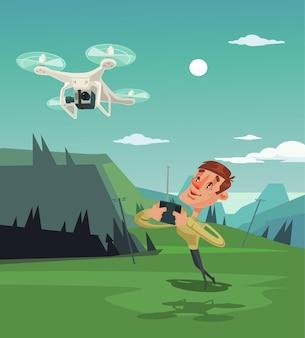 Gelukkig lachende man karakter mascotte spelen met drone.