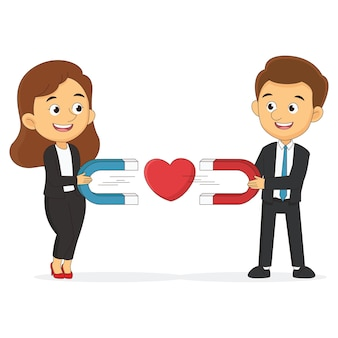 Gelukkig lachende man vrouw liefhebbers tekens elkaar trekken met magneet
