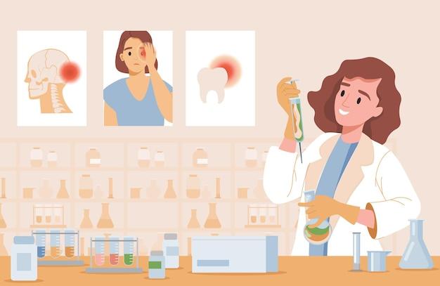 Gelukkig lachende vrouw in laboratoriumjas nieuwe behandeling van maken
