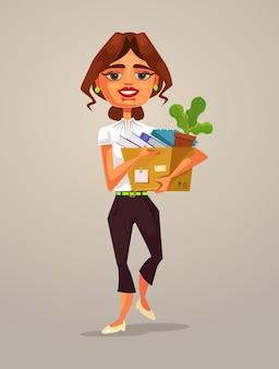 Gelukkig lachende vrouw kantoormedewerker karakter naar nieuwe baan, platte cartoon afbeelding