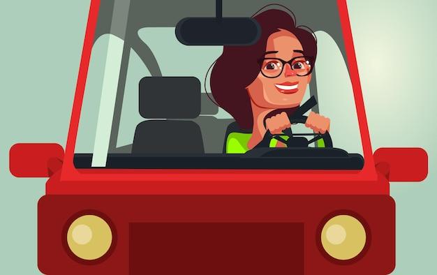 Gelukkig lachende vrouw karakter rijden auto platte cartoon afbeelding