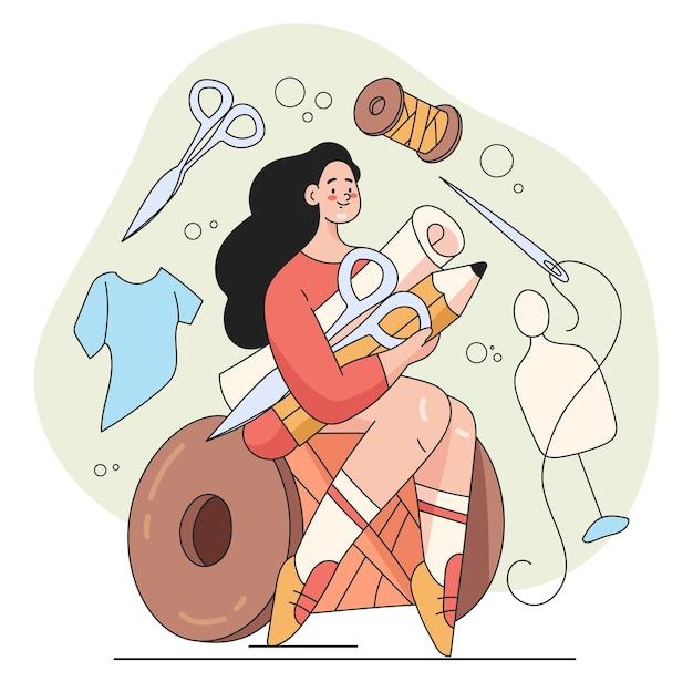 Gelukkig lachende vrouw kleermaker karakter illustratie