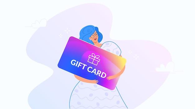 Gelukkig lachende vrouw knuffelen grote cadeaubon verloop vectorillustratie van mensen gebruiken cadeaubonnen Premium Vector