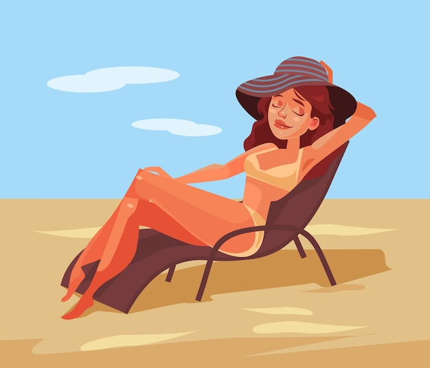 Gelukkig lachende vrouw liggend op een stoel en zonnebaden. tekenfilm