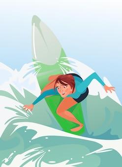 Gelukkig lachende vrouw meisje karakter rijden surfen zomertijd sport vakantie cartoon afbeelding