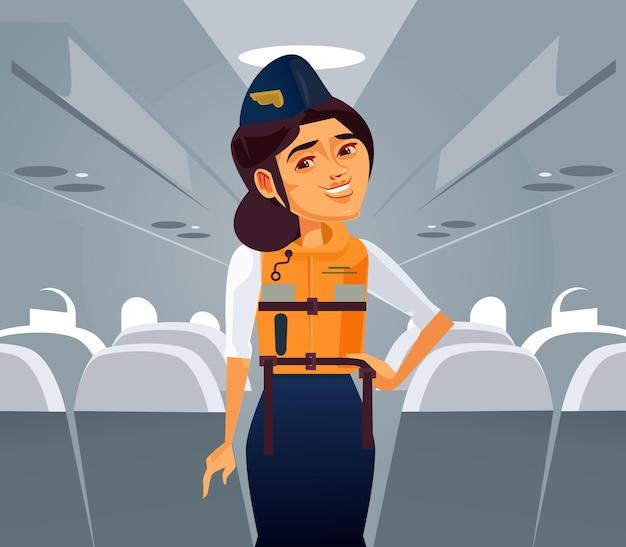 Gelukkig lachende vrouw stewardess karakter legt uit hoe reddingsvest te gebruiken