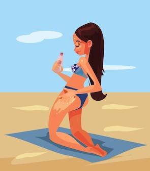 Gelukkig lachende vrouw toeristische karakter met behulp van de zonnebrandcrème van de beschermingshuid. tekenfilm