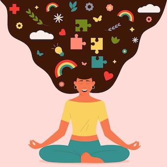 Gelukkig lachende vrouw zit in de lotuspositie het concept van geestelijke gezondheid