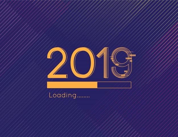 Gelukkig laden van het nieuwe jaar 2019 leidt lettertype en gouden donkere achtergrondelement af