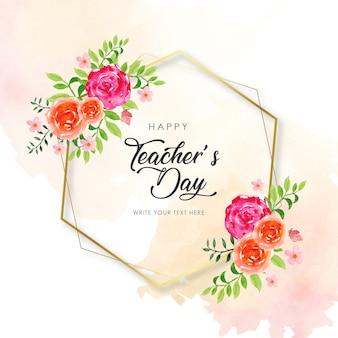 Gelukkig leraar dag zeshoek frame