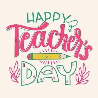 Gelukkig leraren dag belettering concept