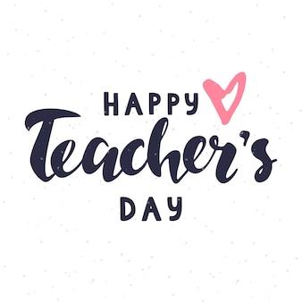 Gelukkig leraren dag belettering met roze hart op witte achtergrond voor wenskaart poster banner