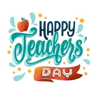 Gelukkig leraren dag belettering thema Gratis Vector