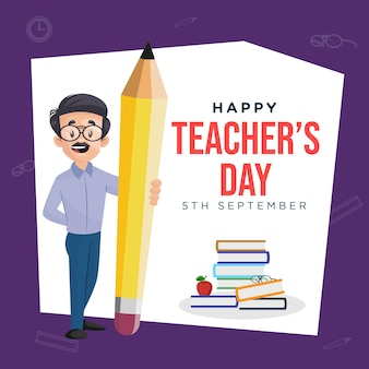 Gelukkig leraren dag cartoon stijl banner ontwerpsjabloon